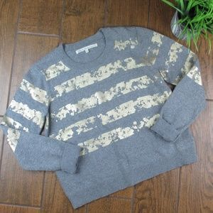 Large Rachel Roy Sweater Gold Grey Striped Crew